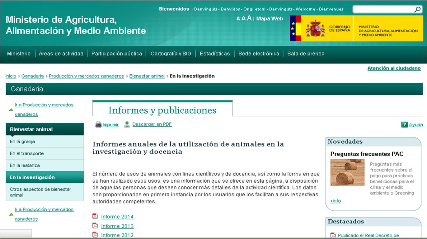 Informes anuales de la utilización de animales en la investigación y docencia